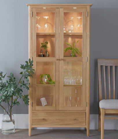 Oak & Hardwood Danish Style LED Illuminated Display Cabinet