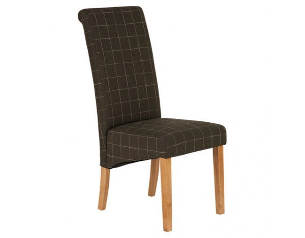 Carnaby Brown & Cream Check Fabric Dining Chair