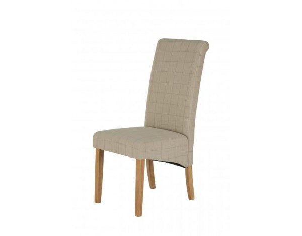 Carnaby Grey & Stone Fabric Dining Chair with Light Wood Legs