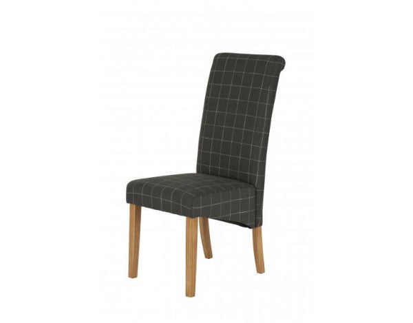 Carnaby Dark Grey & White Check Fabric Dining Chair
