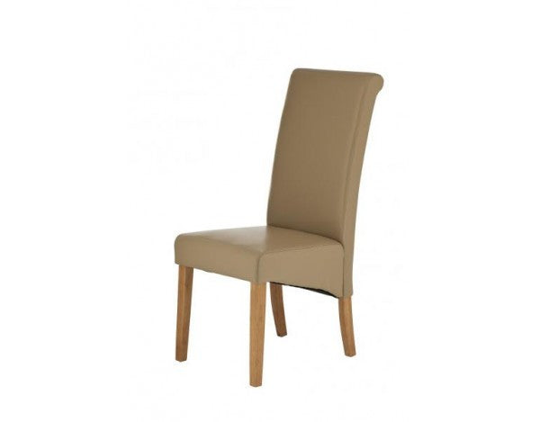 Carnaby Mocha Bonded Leather Dining Chair (Light Wood)