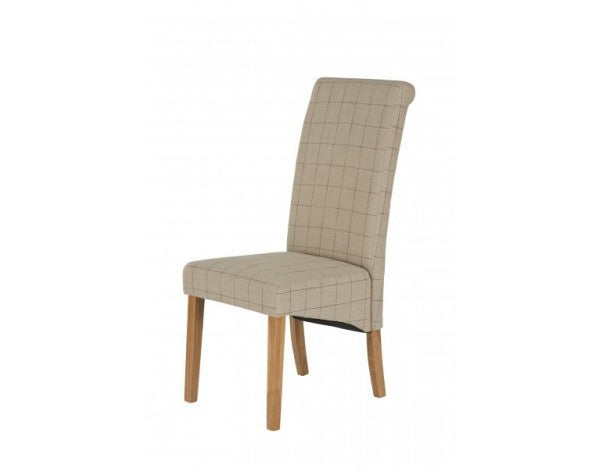 Carnaby Plum & Stone Check Fabric Dining Chair