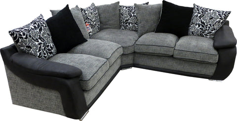 Carrie Grey and Black Fabric Corner Sofa Scatter Back Cushions