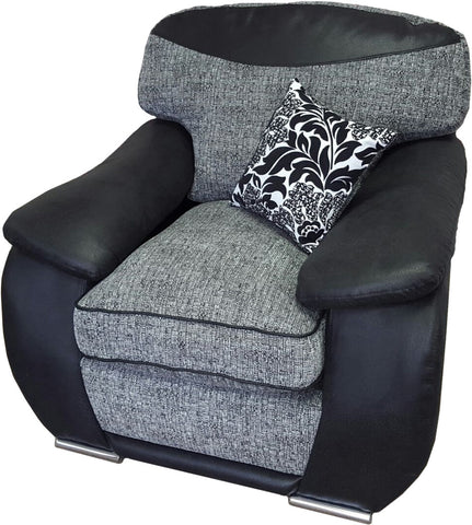 Carrie Black & Grey Fabric Chair with Faux Suede Arms