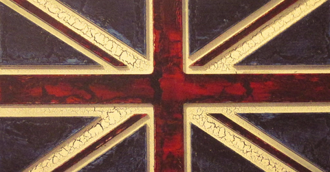 Carved Vintage Union Jack Flag Vintage Sign