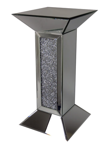 Mirrored Diamante Filled Pillar Pedestal