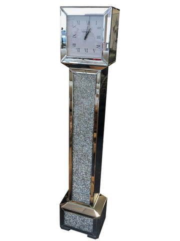 Square Diamante Art Deco Mirrored Long Case Grandmother Clock