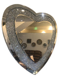 Diamante Filled Thin Border Love Heart Wall Mirror (Small)