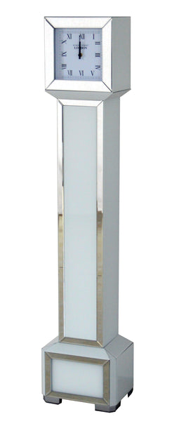 Square White Glass Art Deco Mirrored Long Case Grandmother Clock
