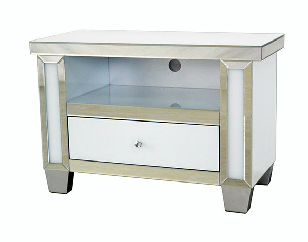 Mirrored & White Glass Small TV Cabinet