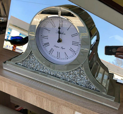 Napoleon Crushed Diamante Mantle Clock