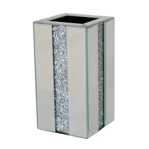 Mirrored Diamante Crystal Square Pillar Vase