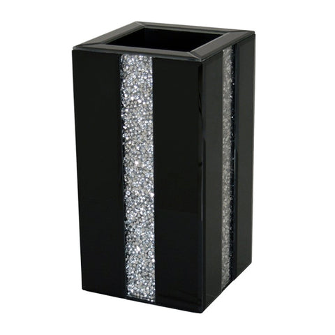 Black Gloss & Diamante Crystal Square Pillar Vase