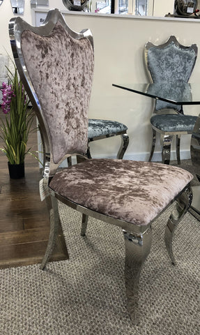 L'Amour Stainless Steel Natural Crushed Velvet Dining Chair