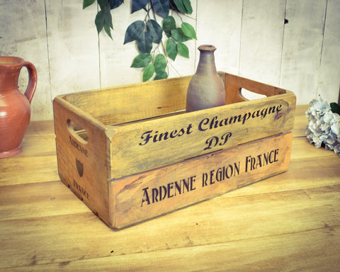 Champagne Solid Wood Vintage Crate