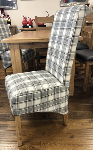 Weathered Oak Plaid Check Fabric Dining Chair
