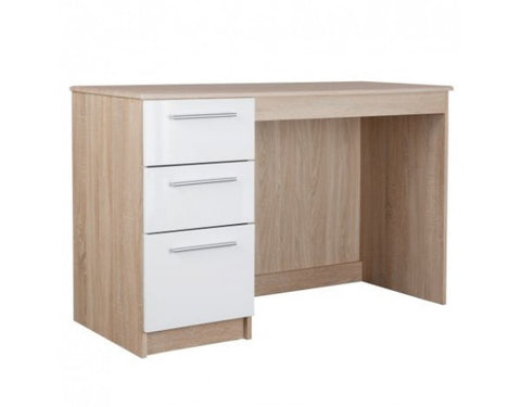 Chester 3 Drawer Dressing Table Desk in Cappuccino Gloss & Oak