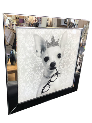 White Chihuahua with Diamante Tiara Glitter Liquid Wall Art (Mirror Frame)