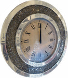 Diamante Round Mirrored Wall Clock