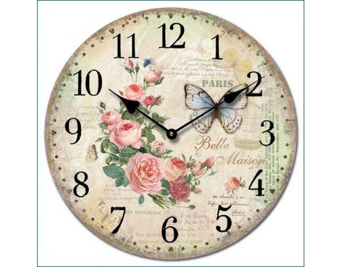 Circular La Belle Maison Wall Clock with Flowers and Butterflies