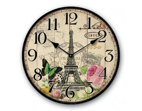 Circular Shabby Chic Paris Wall Clock with Eiffel Tower Design