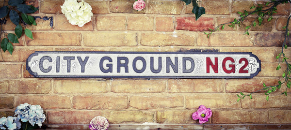 Nottingham Forest Football Club City Ground NG2 White Black Crackle Vintage Retro Road Sign