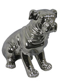 Silver Electroplated Ceramic Sitting Bulldog Ornament