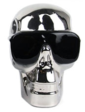 Silver Electroplated Small Skull with Sunglasses Ornament