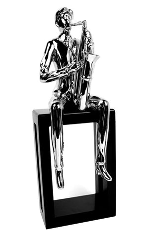 Silver Electroplated Man Playing Saxophone Ornament