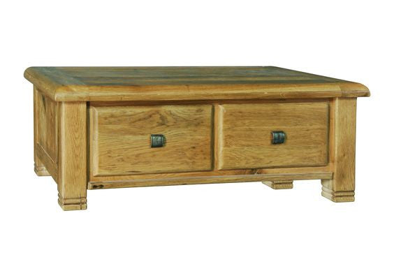 Weathered Distressed Reclaimed Rustic Oak 2 Drawer Coffee Table