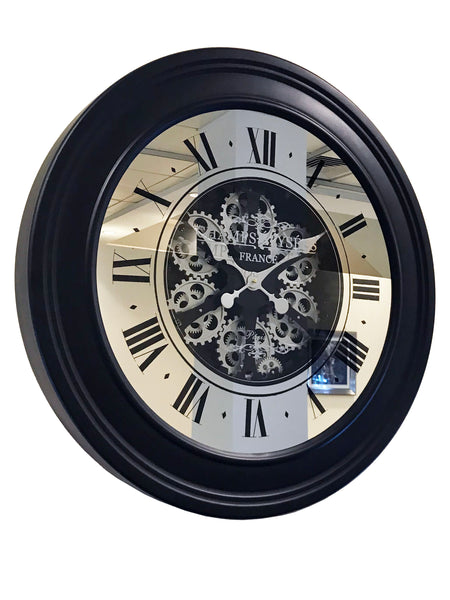Round Mirrored Silver Gear Mechanical Wall Clock