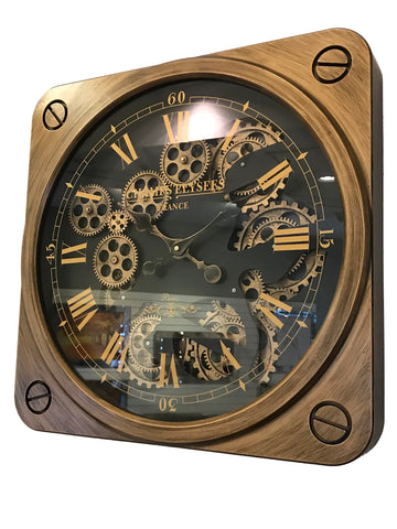 Brass Effect Black Mechanical Gear Wall Clock