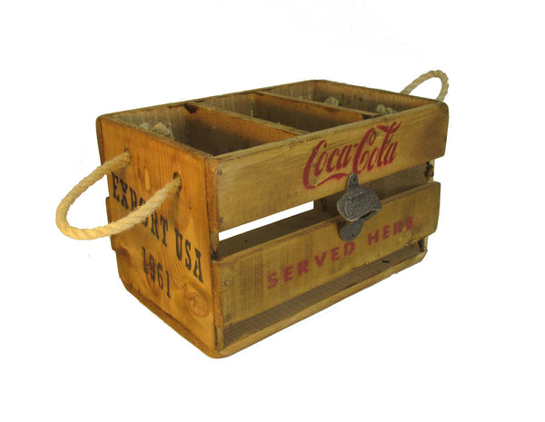 Coca Cola Vintage Solid Wood Retro Solid Wood Crate with Cast Iron Bottle Opener
