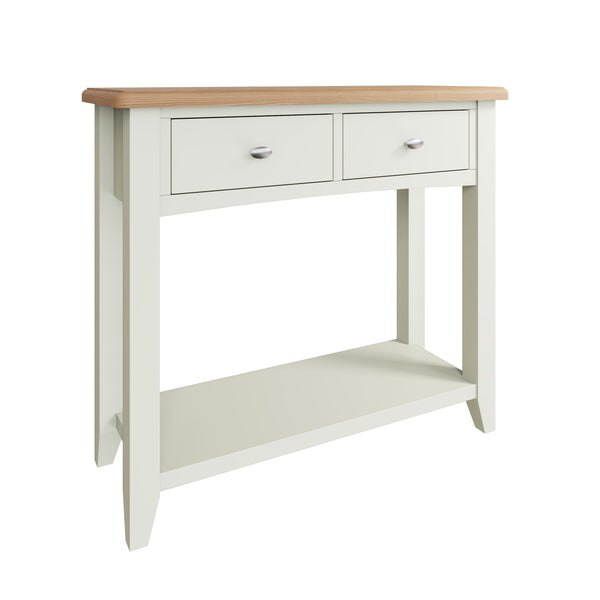Fresh White with Oak Top Console Table
