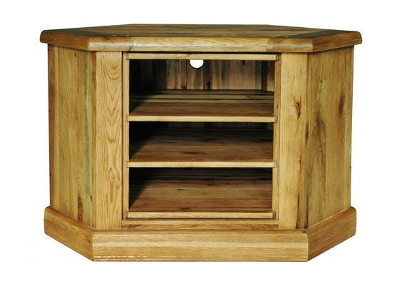 Weathered Oak Distressed Rustic Low Corner TV Television and Entertainment Display Unit