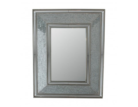 Silver Rectangle Crackle Mosaic Wall Mirror