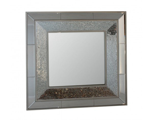Crackle Silver Mosaic Square Wall Mirror