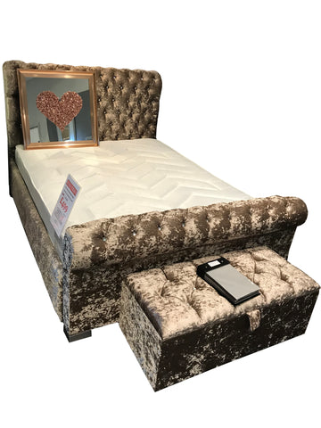 Crushed Velvet Diamante Jewel Bed