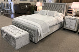 Crushed Velvet Diamante Crystal Bed Frame