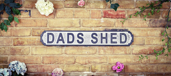 Dads Shed White Black Vintage Retro British Road Sign
