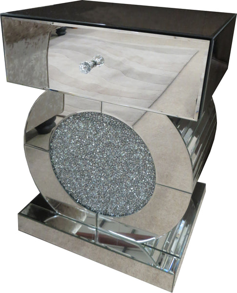 Crushed Mirrored Glass, Round Art Deco Lamp Table