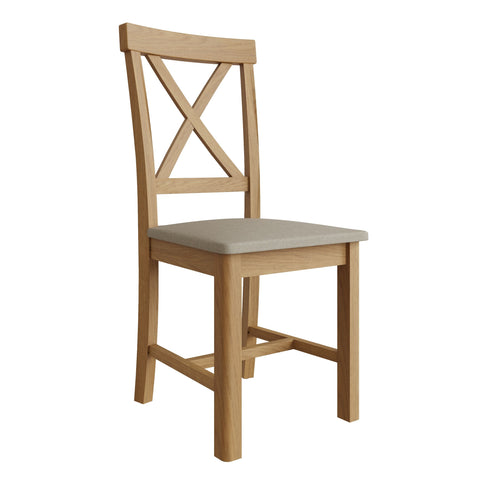 Oak & Hardwood Rustic Cross Back Dining Chair with Fabric Padded Seat