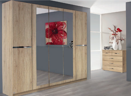 Dorset Hinged Mirrored Wardrobe - Oak
