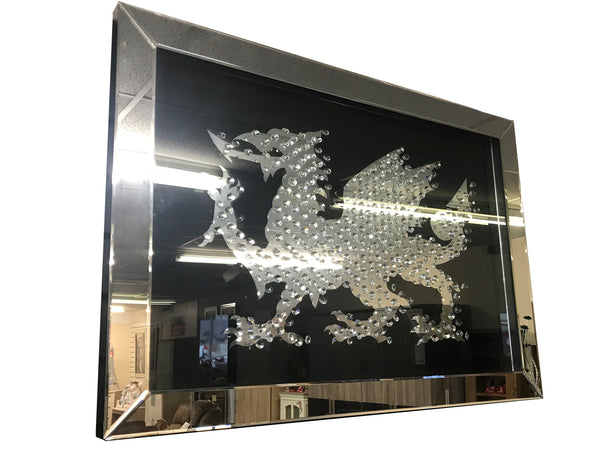 Floating Crystal Black Mirrored Welsh Dragon Wall Mirror