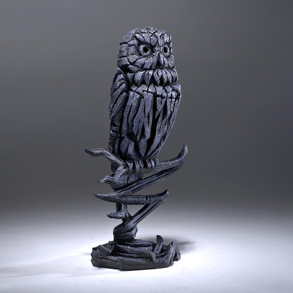 Owl Edge Sculpture Ornament Figurine Hand Painted Sculptured Midnight Bue