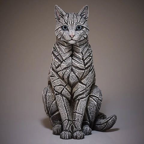 Sitting Cat Figurine Sculptured Ornament (White)