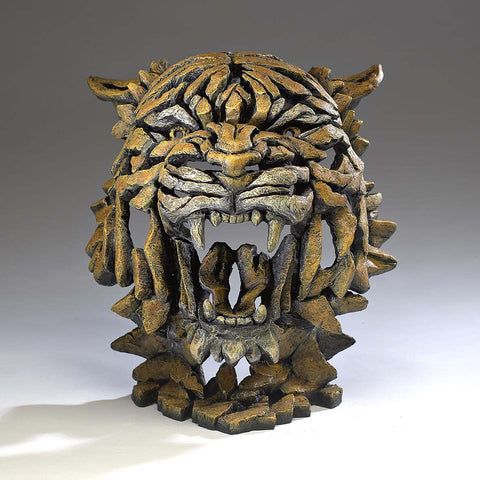 Edge Sculpture Bengal Tiger Bust Head Ornament Figurine Hand Painted