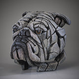 White Bulldog Bust Head Ornament Figurine Hand Painted Edge Sculpture