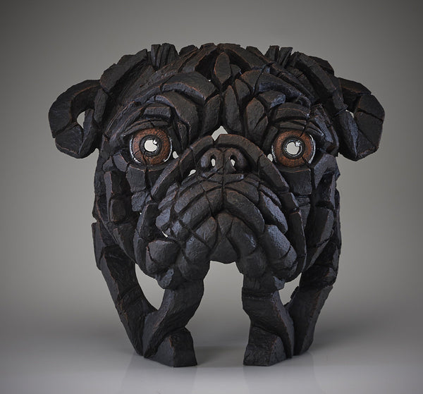 Edge Sculpture Hand Painted Sculptured Black Pug Dog Ornament Figurine