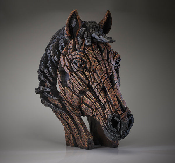 Edge Sculpture Horse Bust Head Ornament Figurine in Bay Brown Hand Painted Sculpted Finish